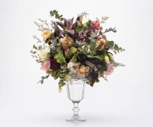 Bouquet of Dried Flowers in Glass Vase